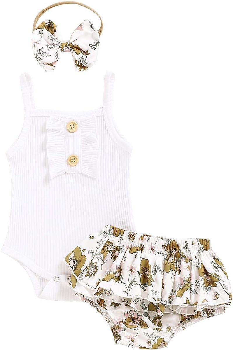 Newborn Infant Baby Girls Summer Outfits Ruffle Button Halter Romper Shorts Skirt Shorts Bowknot Headband 3Pcs Clothes Sets