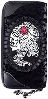 Lost Queen Black Flocked Cameo Skull Lady Rose Gothic Zip Around Wallet