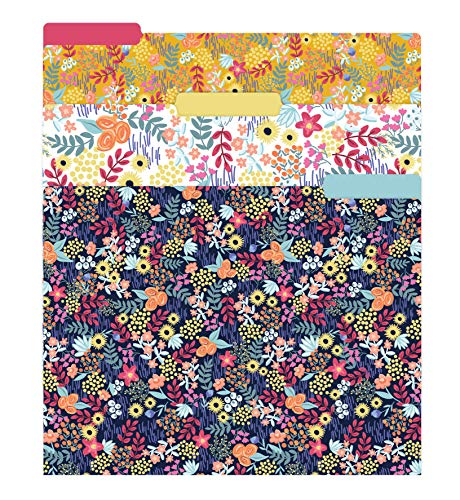 """bloom daily planners Decorative File Folders - Set of Six Letter Size (8.5"""" x 11"""") Organizers, 1/3 Cut Tabs - Assorted Designs - Floral Dots"""