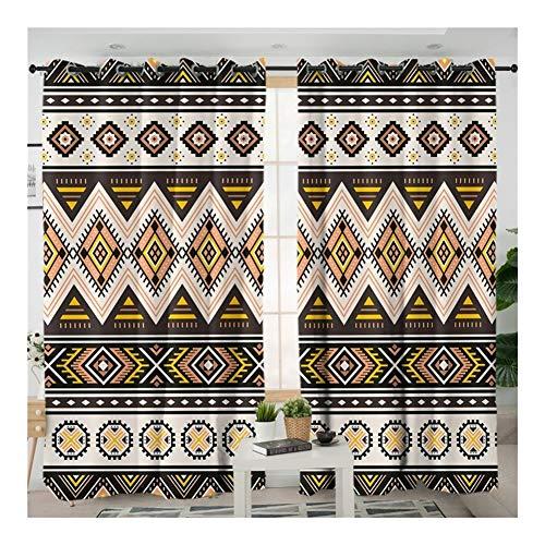 W-L Cortina Opaca Cortina De La Cocina Geométrica De Rayas Brown Cortinas Tribales For El Dormitorio De La Vendimia del Apagón Cortina For La Sala (Size : W150xH270cmx1 Piece)