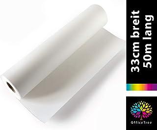 OfficeTree 50 m Rollo de Papel para dibujo 33 cm ancho - 40 g/qm² Calidad premium - Blanco - Papel de dibujo para dibujo técnico