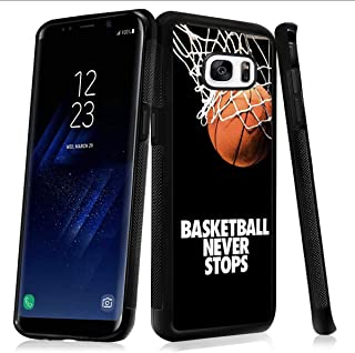 Samsung case for Samsung Galaxy S7 edge case Basketball Never Stops Slim Soft and Hard Tire Shockproof Protective Phone Cover Case Slim Hybrid Shockproof Protective Case Anti-Scratch Cushion Bumper wi