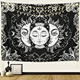 ARFBEAR Sun and Moon Tapestry, Burning Sun with Stars Psychedelic Popular Mystic Wall Hanging Tapestry Black and White Beach Blanket (medium-59 x 51 in)