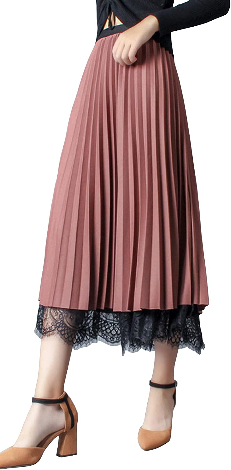 CHARTOU Women's Reversible Elastic Waist Lace Patchwork Pleated Long Swing Skirts