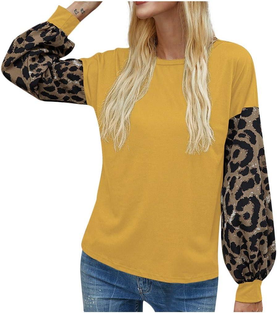Kaifongfu Popular standard Womens Tunic Shirts Lantern Leopard Sleeve Pull Stitch Very popular!