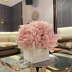 Artificial Flowers with Vase, Fake Peony Flowers in Vase,Faux Flower Arrangements for Home Decor