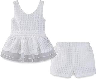 LittleSpring Little Girls Outfits Chiffon Plaid Shorts Belt Suit