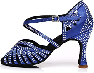 YKXLM Women's Professional Rhinestone Ballroom Wedding Dance Shoes Latin Salsa Performance Practice Dance Shoes,Model AUYCL380