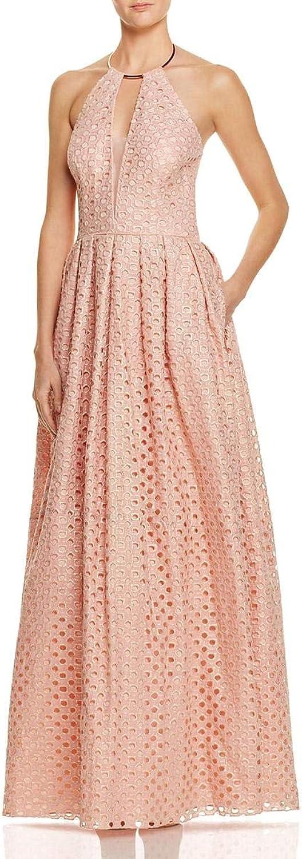 JS Collections Womens Metallic Halter Evening Dress