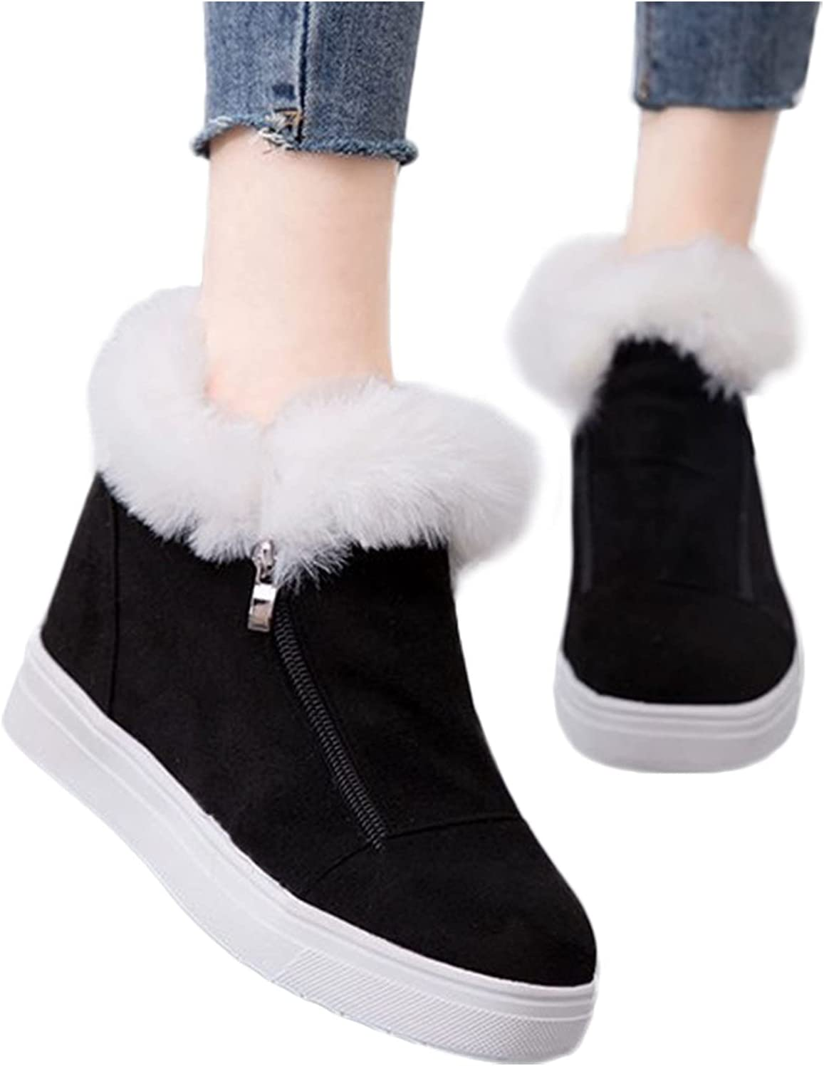 Woolkey Ankle Booties for Women Round Toe Flat Short Winter Boots Fashion Zipper Warm Cotton Work Western Snow Boots for Ladies Autumn Winter Street Party Riding Outdoor Trekking (Black, 9.5-10)