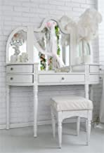 AOFOTO 5x7ft Boudoir Dressing Table with Mirror Background Candles Feathers Photography Backdrop Woman Bedroom Makeup Interior White Brick Wall Photo Studio Props Girl Lady Portrait Vinyl Wallpaper