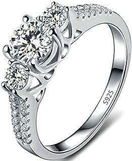 Jude Jewelers Platinum Plated Three Stone Wedding Engagement Anniversary Promise Ring