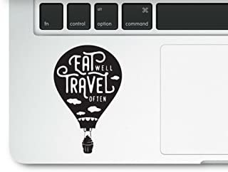 Eat Well Travel Often Hot Air Balloon Cupcake Laptop Macbook Clear Printed Decal Trackpad