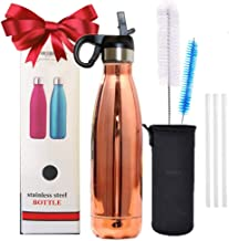 Champagne 500 ml 17 Oz Gift Set Thermos Water Bottle with Straw Brush Bottle Sleeve Holder Cap Thermos Flask Vacuum Insulated Double Wall Stainless Steel Leakproof BPA Free 6 Hours Hot 12 Hours Cold