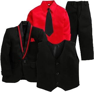 Jeet Creation Boys Black Coat Suit with Waistcoat, Shirt, Tie and Pant Set (9066SH)