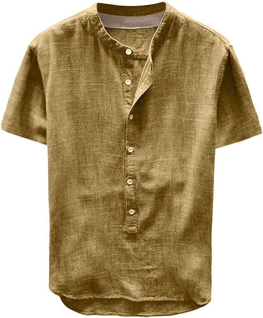 F_Gotal Ranking TOP9 Men's Linen Great interest Shirts Short Sleeve Tee Shirt U Button Beach