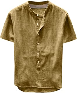 F_Gotal Men's Linen Shirts Short Sleeve Beach Tee Shirt Button Up Tops Cotton Lightweight Plain Mandarin Collar Blouses