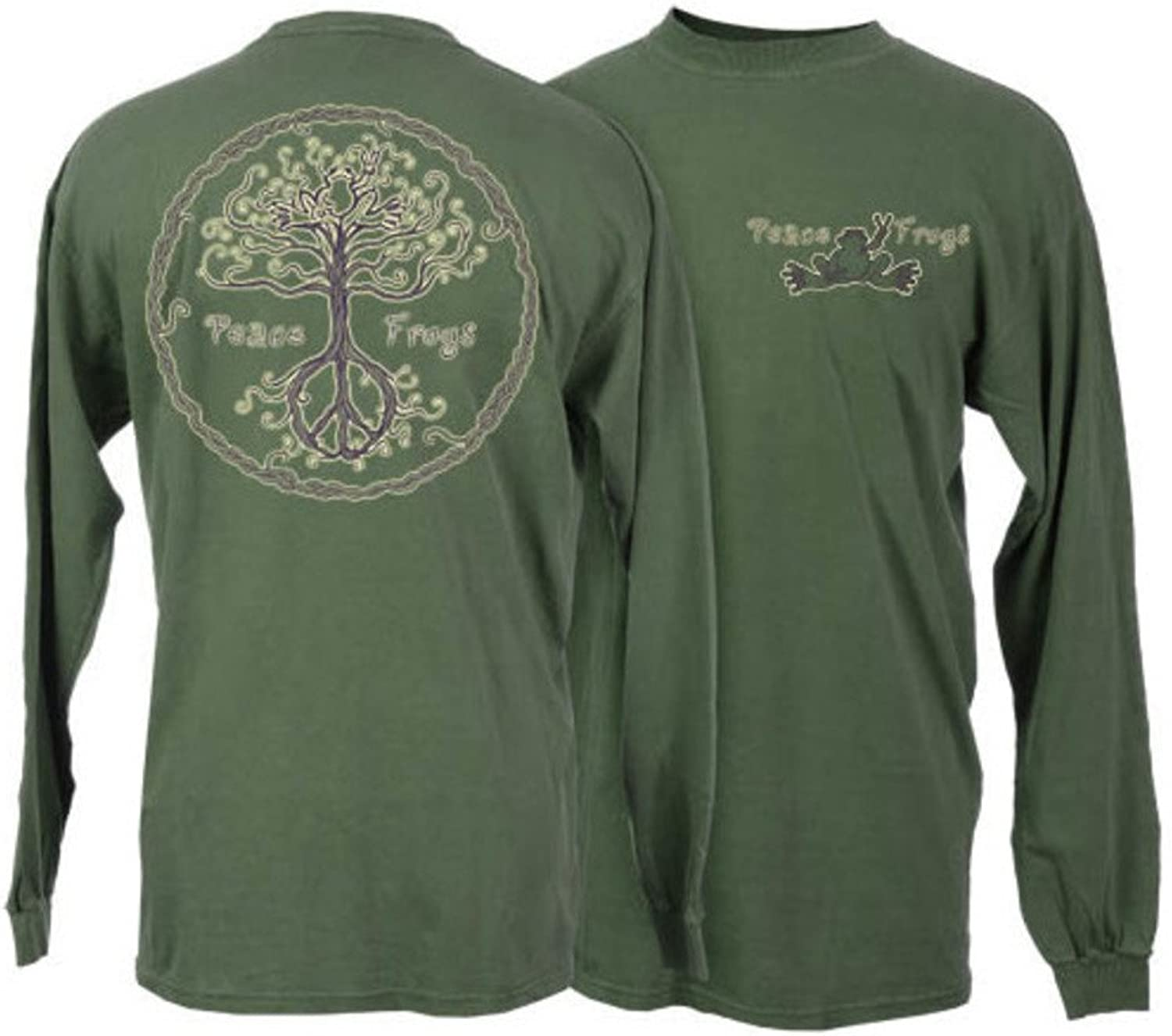 Peace Frogs Adult Wild Tree Long Sleeve TShirt (Military Green Small)