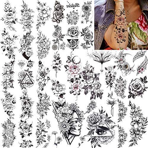LAROI 27 Blätter Groß Sexy Rose Blume Temporäre Tattoos Frauen, Mädchen Böhmische Fake Tattoos Aufkleber Arm, Realistische Temporäre Tatoos Pfingstrose Schwarz Blumen Skizze Pflanzen Tatto Kinder
