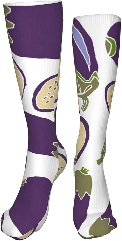 Eggplants Women Premium High Socks, Stocking High Leg Warmer Sockings Crew Sock For Daily And Work