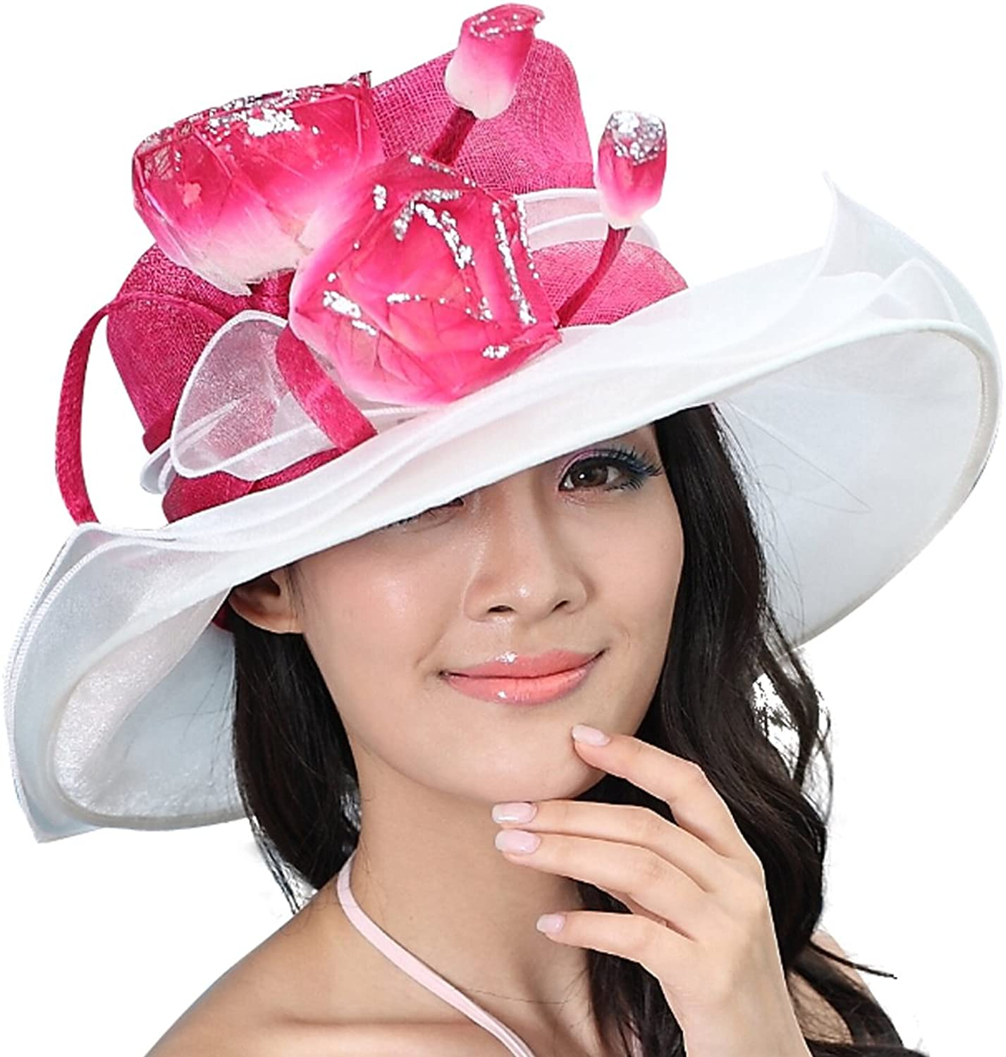 June's Young Kentucky Derby Ruffle Ladies'sinamay Hat with Organza
