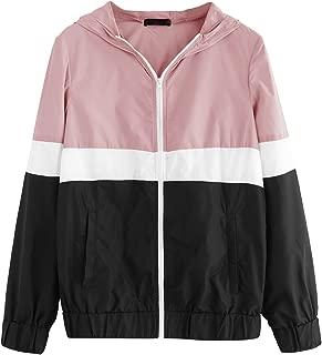 Women's Color Block Hooded Casual Thin Windbreaker Jacket