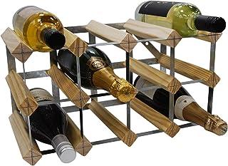 Hogreat Casier à vin 12 Bouteille 4x2 Rack Traditionnel Traditionnel - entièrement assemblé - Pin Naturel certifié FSC