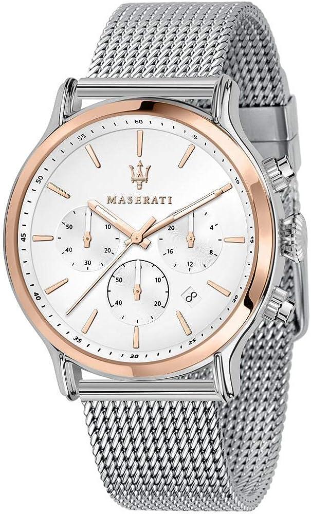 Maserati  orologio cronografo uomo collezione epoca in acciaio, pvd oro rosa 8033288892694