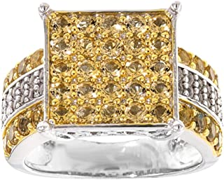 AFFY Men's Jewelry, 1.01CTW Round Brazilian Citrine With 0.27CTW Round White Topaz Square Frame Cluster Engagement Ring In...