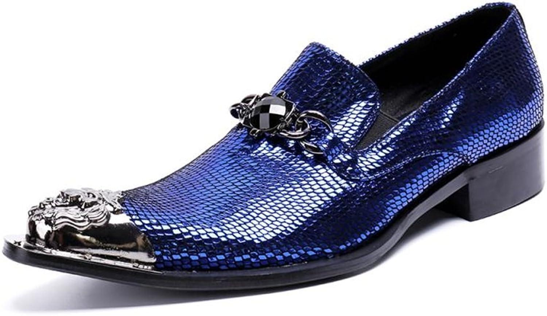 HUAN Mann's skor läder Winter Fall Fall Fall Booslips Mode stövlar Metallic Toe Lace -up för Casual Party & Evening  online-återförsäljare
