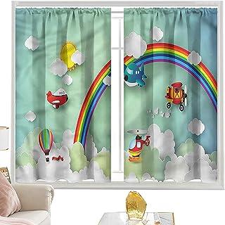 Cortinas de bolsillo para barra para niños, Rainbow Sunny Sky Baby W52 x L63 pulgadas cortinas para dormitorio