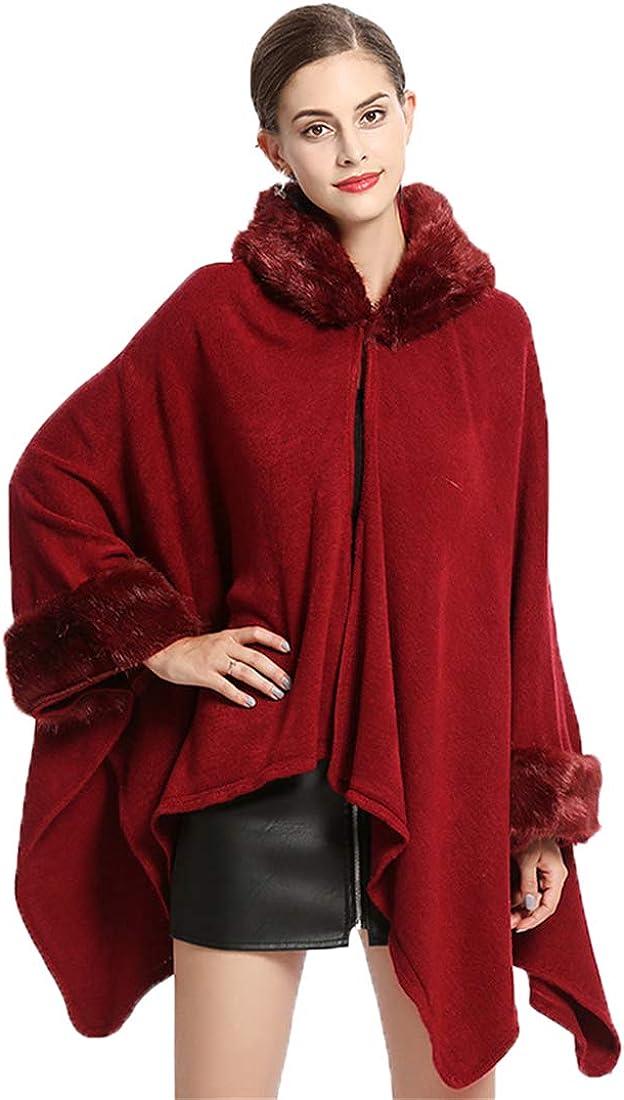 Ponchos for Women Thicken Faux Fur Oversize Cape Poncho Open-Front Blanket Wrap