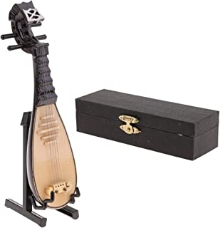 MonkeyJack Handmade Mini Wooden Lute/The Pipa Model with Stand for 1/6 Action Figures Hot Toys 12inch Dolls Accessories