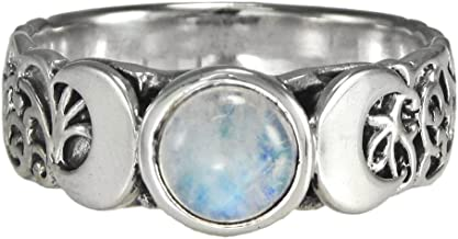 Sterling Silver Triple Crescent Moon Goddess Ring with Rainbow Moonstone (Sizes 4-15)