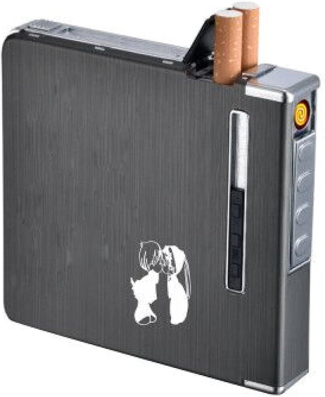 WYL XCF Zigarettenetui, Aluminium-Legierung, 20 Packungen von tragbaren Zigaretten mit Ladezünder B07FKDLYY5