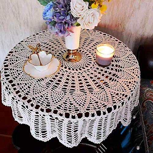 vogueyouth Mantel de Comedor de Ganchillo, Elegante cojín de Mesa Redondo de Encaje de algodón Bohemia Hecho a Mano para Cocina, Patio, jardín, Comedor, decoración de Boda de Fiesta