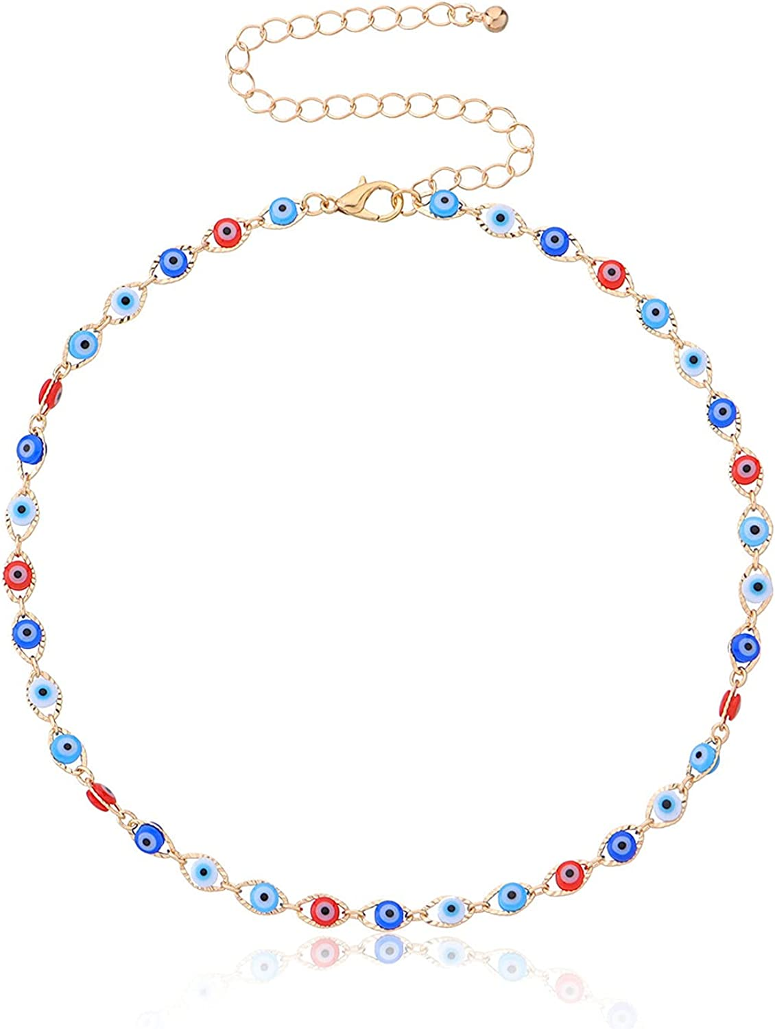 COLORFUL BLING Multilayer Evil Eye Beads Choker Dainty 14K Gold Plated Evil Eye Beaded Pendant Collar Necklace Lucky Protection Jewelry for Women Girls