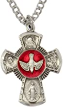 Heartland Men's Sterling Silver Red Enamel 4 Way Cross Necklace + USA Made + Chain Choice