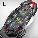 KKmoon Funda para Asiento Moto,Cubierta de 3D Malla Fresca para Asiento Cojín Protector,Elastica,Transpirable, L (Longitud 77-84CM, Ancho 43-49CM)