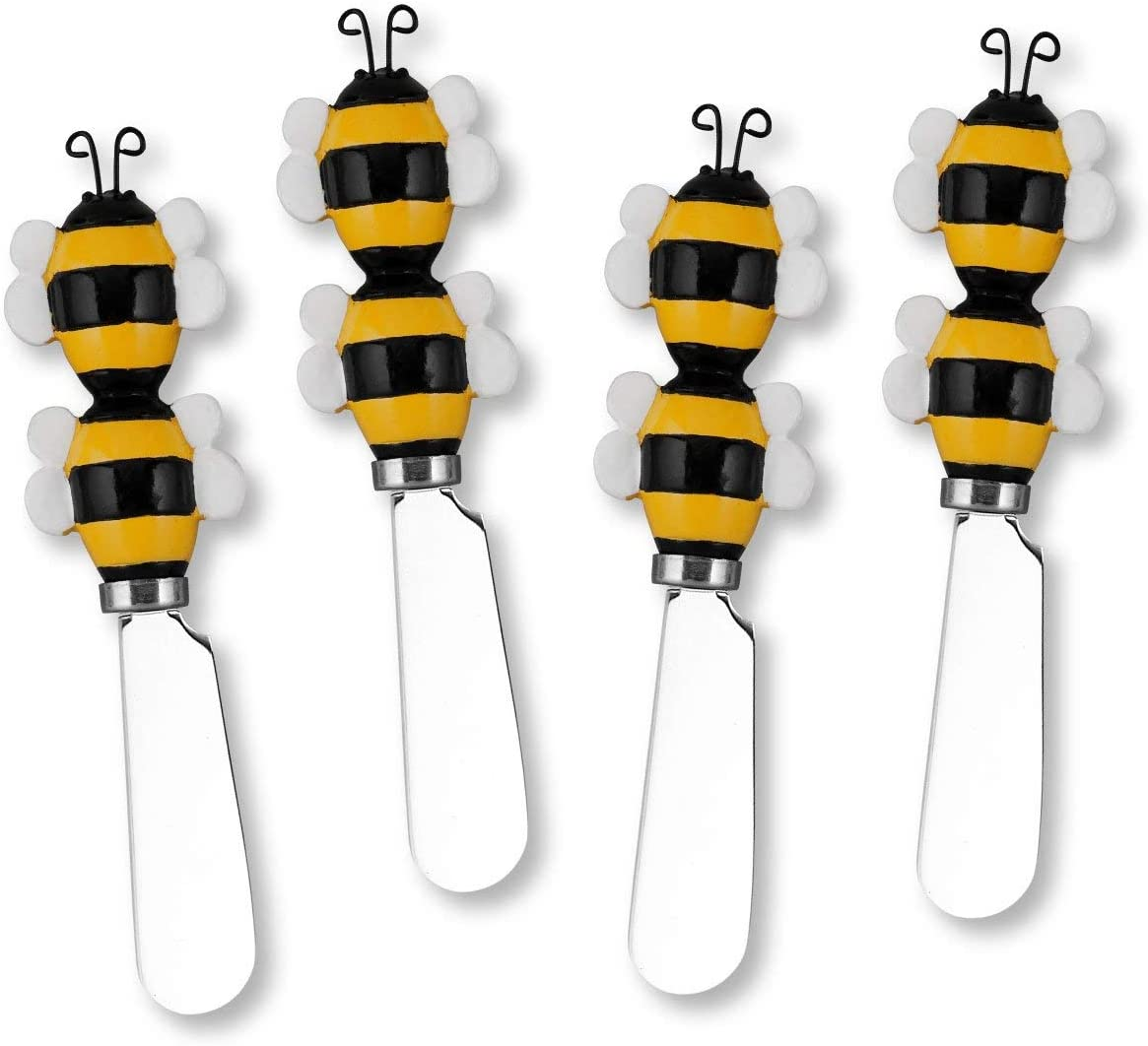 UPware 4-Piece Bees Hand Painted Resin Ranking TOP11 Max 87% OFF with Ste Handle Stainless