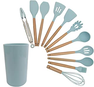 Kitchen Utensils Set - 11 Silicone Cooking Utensils for Non-Stick Cookware. Wood Kitchen Utensils. BPA Free, Silicone Spat...
