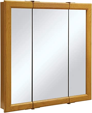 featured product Design House 545301 Claremont Honey Oak Tri-View Medicine Cabinet Mirror with 3-Doors,  30-Inches by 30-Inches