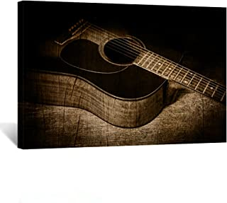 Kreative Arts - Acoustic Guitar Canvas Prints Musical Instrument Wall Art Vintage Poster Printed on Canvas Stretched and Framed Ready to Hang for Home Decorations 24x36inch
