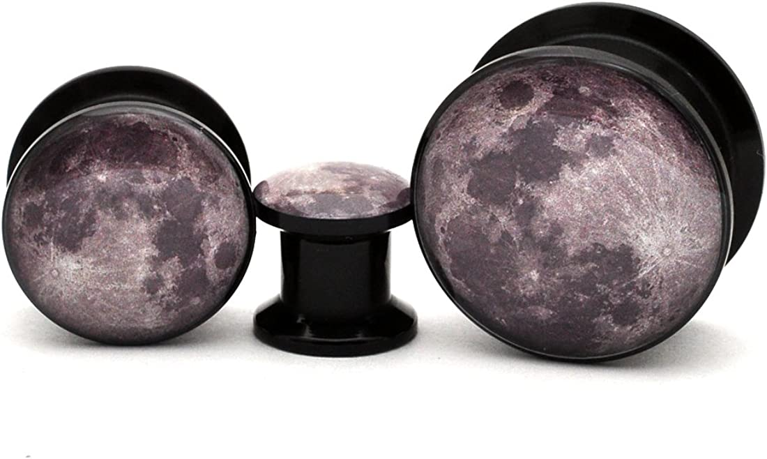 Mystic Metals Body Jewelry Black Acrylic Full Moon Picture Plugs - Sold as a Pair