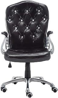 Desk Chairs DBL Las sillas de Escritorio con Ruedas de Oficina/Armes Moderno PU Silla Midback Presidente Ejecutivo Ajustable Ordenador Personal en Las Ruedas 360 ° Giro Las sillas de Escritorio