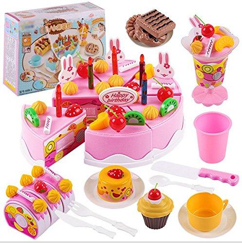 Skyeye 75pcs Juguete de Torta de Frutas para Niños Juguete Feliz,Alimentos de Corte Juguete del Bebé Traje