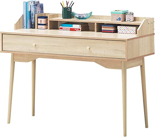 wholesale Giantex Writing Desk with Drawer, Computer Wooden Desk 100% Rubber Wood Legs, Sufficient outlet sale Storage Space w/Large Drawer & Wide Table Top Writing Computer Desk for online Bedroom Apartment Small Space (Natural) online sale