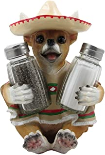 South of the Border Chihuahua Glass Salt and Pepper Shaker Set with Decorative Holder Figurine for Southwestern & Mexican Bar Sculptures and Statues As Kitchen Decor Spice Racks and Gifts for Pet or Dog Lovers by Home-n-Gifts