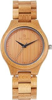 ساعة خشب رجالي من Andoer من خشب الخيزران ساعة تناظرية كوارتز خفيفة الوزن ساعة يد كلاسيكية