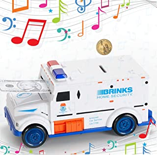 Fanwu Code Electronic Piggy Banks Cool Armored Car Mini ATM Electronic Coin Bank Coin Box Security Piggy Bank Password Coins Money Savings Box Great Gift Toy for Children Kids